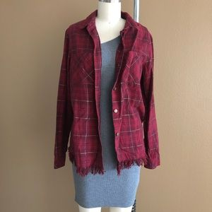 Tops - Red Plaid Button Down Top w/ Subtle Gold Accents
